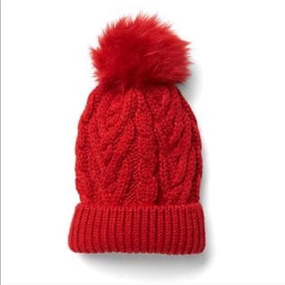 Red knit Pom Pom beanie 78365c853